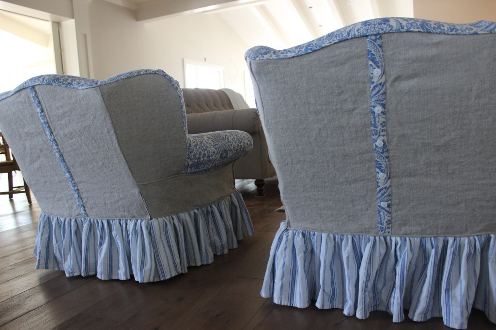 Blue And White Wingbacks Slipcovers By Shelley