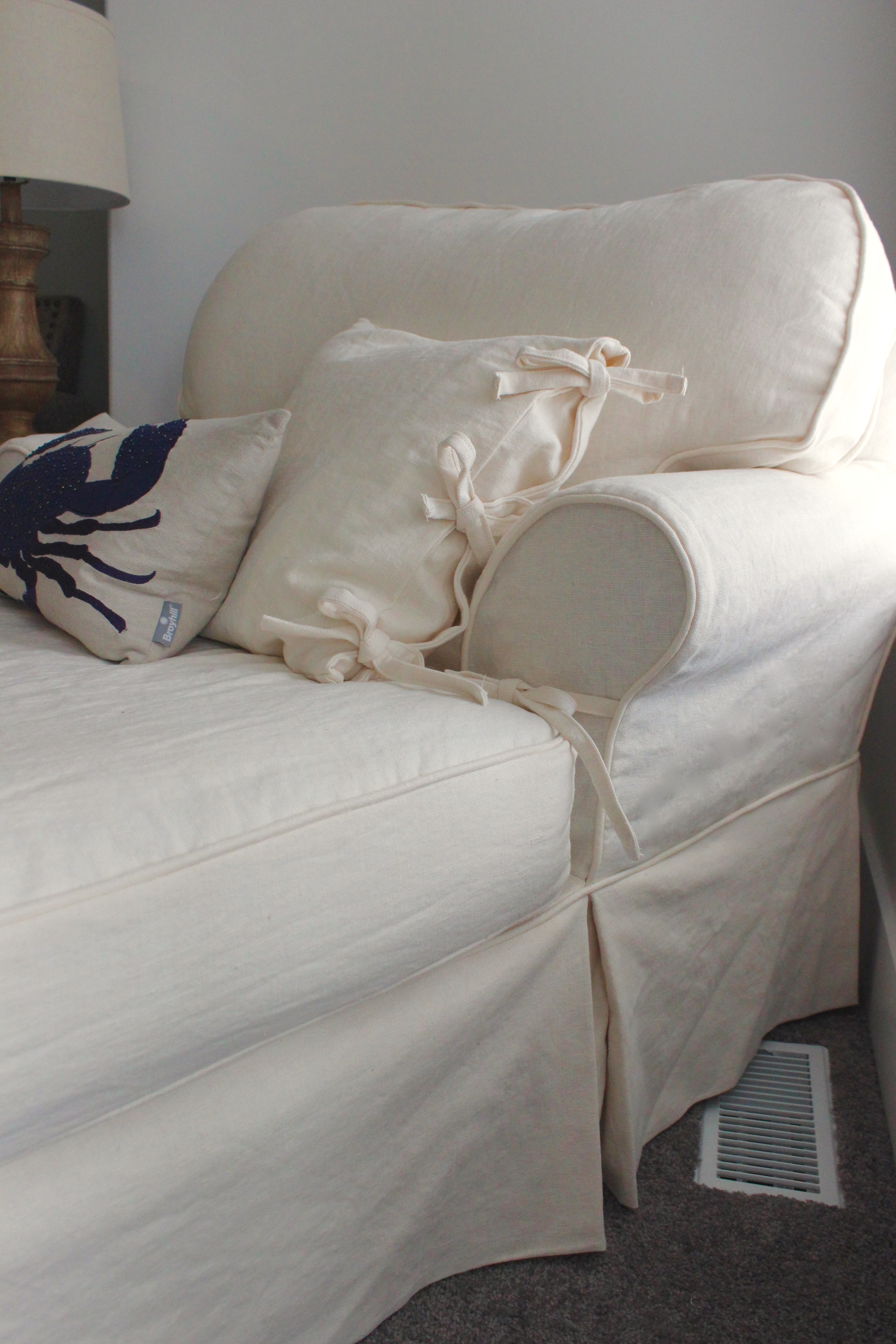 Custom Slipcovers By Shelley White Linen Chaise Lounge