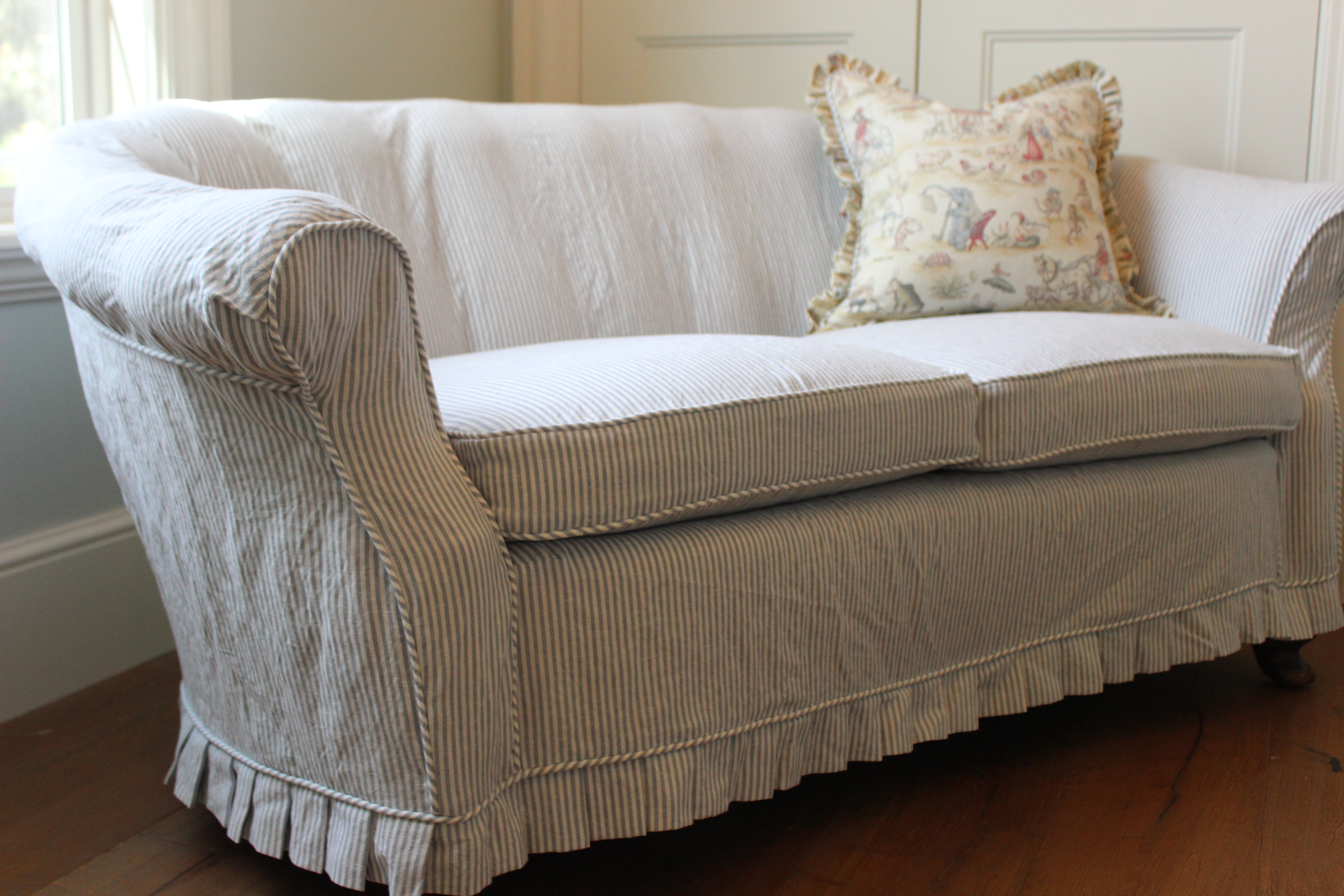 Custom slipcovers by shelley blue pinstripe loveseat Loveseat slipcover