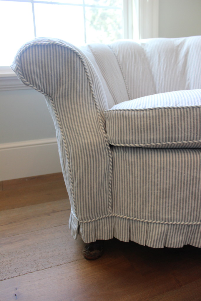 Blue pinstripe loveseat slipcovers by shelley Blue loveseat slipcover