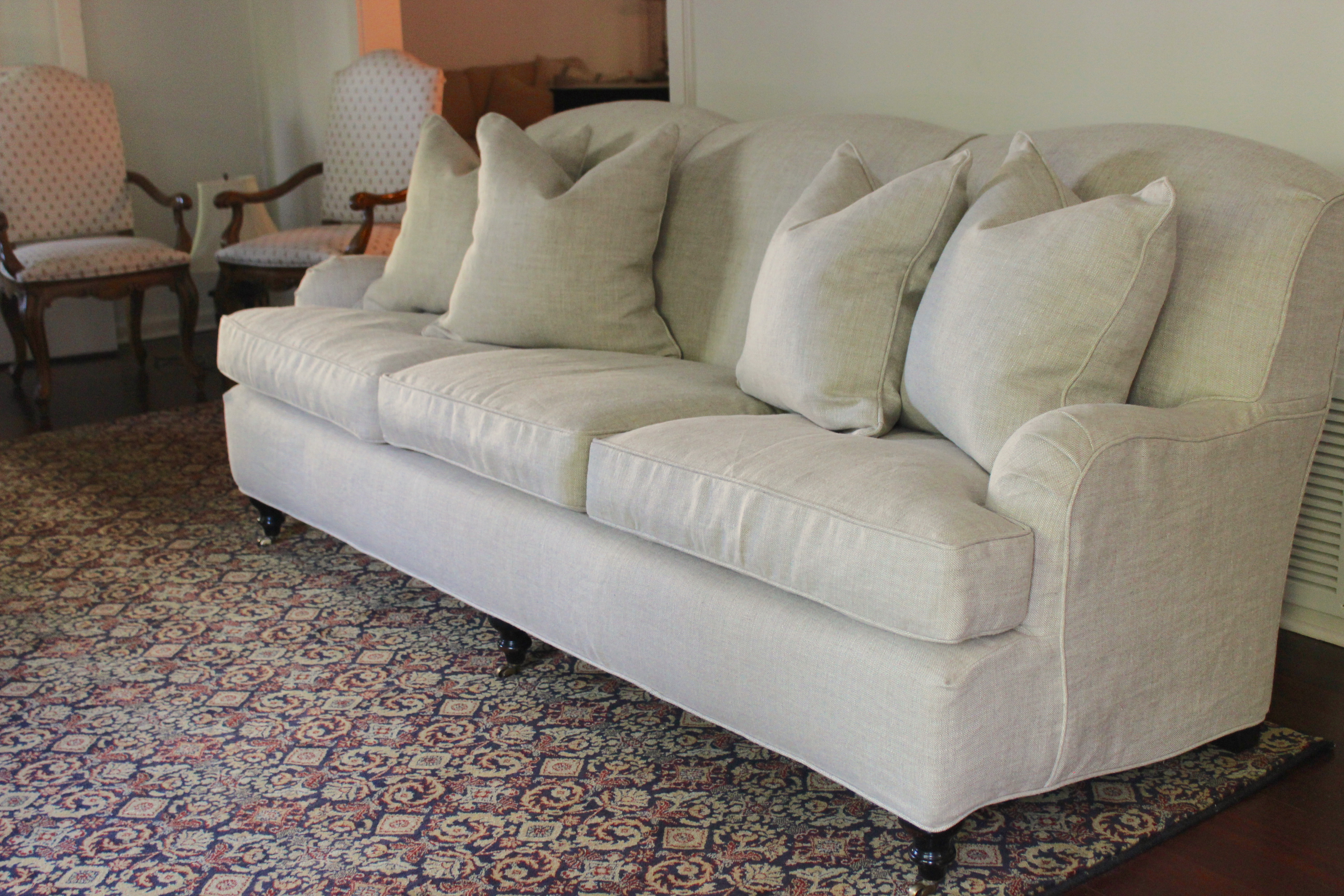 Linen English Rolled Arm Couch Slipcovers By Shelley